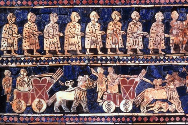 Detail from the Standard of Ur – Infantrymen and High ranking chariot riders