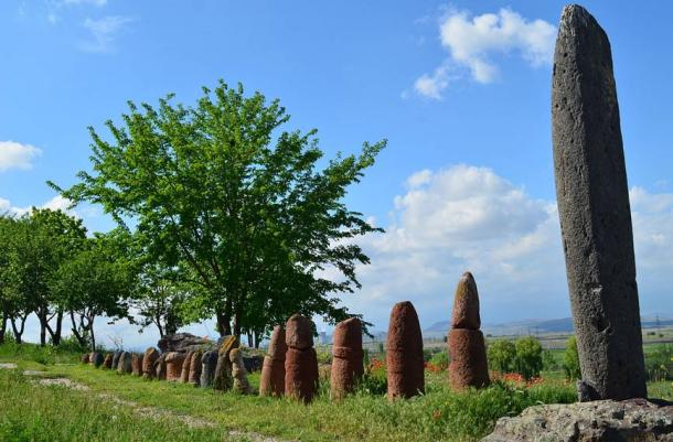 Standing stones at the ruins of the Metsamor site.