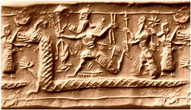 Star is seen above the heads of the deities portrayed here on a Babylonian (albeit Neo-Assyrian) cylinder.