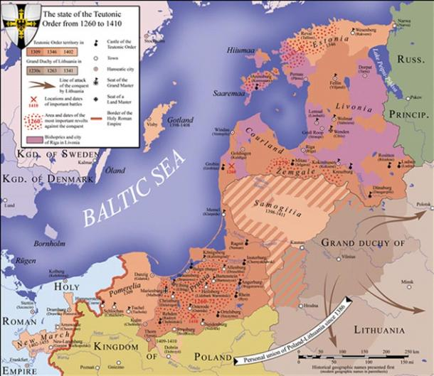 Territory of the State of the Teutonic Order; the locations and dates of major battles, including the Battle of Grunwald, are indicated by crossed red swords.