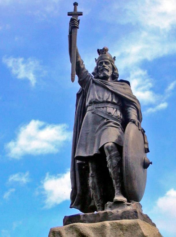 Statue of Alfred the Great at Winchester unveiled during the millennial commemoration in 1899 of Alfred's death