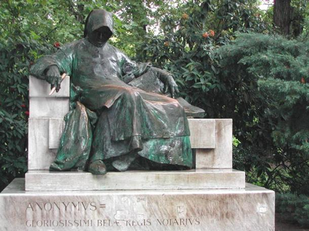 Statue of Anonymus, in Budapest's Vajdahunyad Castle.
