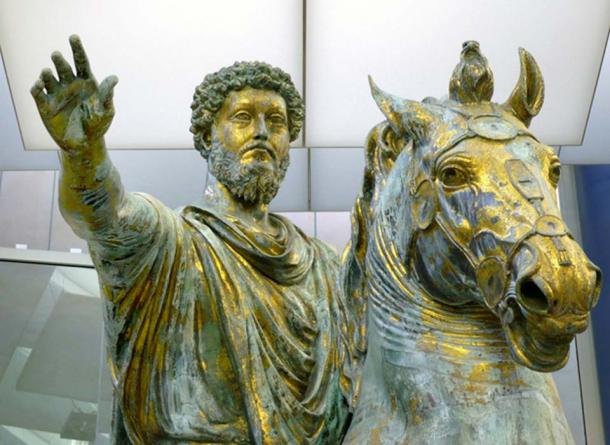 The Statue of Marcus Aurelius (detail) in the Musei Capitolini in Rome