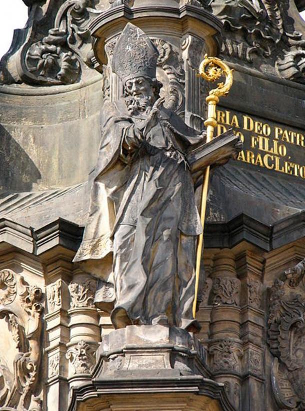 Statue of Saint Methodius on the Holy Trinity Column in Olomouc in Olomouc (Czech Republic).