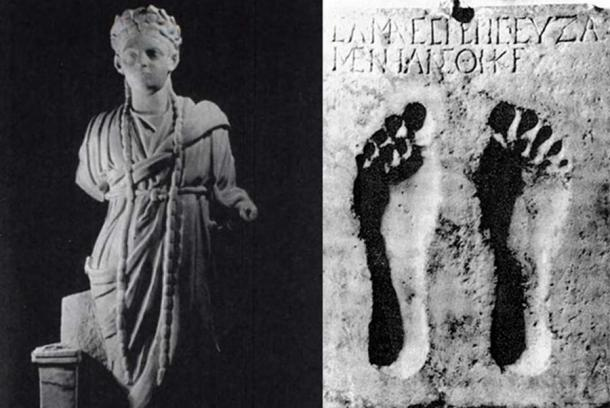 Statue of an Archigallus, high priest of Cybele, 2nd-3rd century AD (left) (Public Domain), and a dedication to the goddess Ma with the imprint of a bare foot, first century BC (right). (Public Domain)