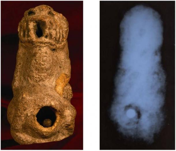 Izquierda: Estatua con abertura que contiene la bola de metal. Derecha: Radiografía de la estatua antes de que se abrió, mostrando bola de metal en el interior