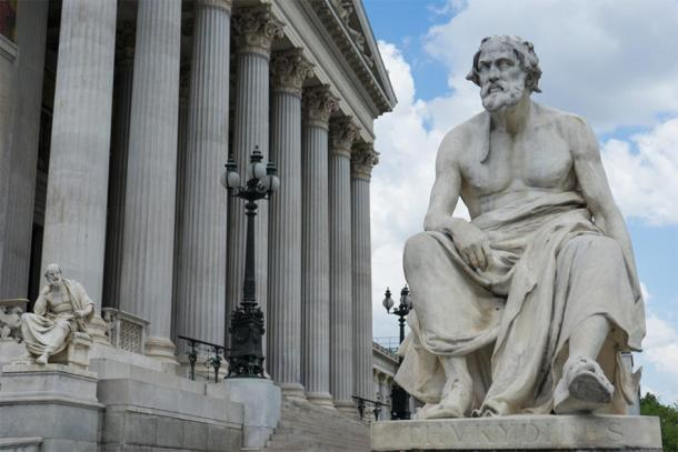Statue of Thucydides outside Austrian Parliament. (SianStock / Adobe stock)