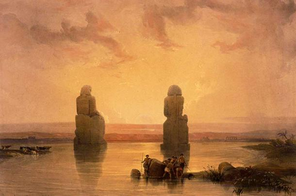 'Statues of Memnon at Thebes during the flood,' David Roberts. (1848)