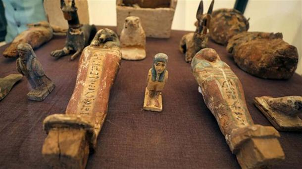 Statues on display outside a newly discovered ancient Egyptian soldier's tomb in Luxor, Egypt. (Ahram Online)