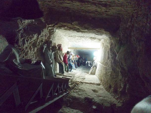 Steep corridor down into the hidden tomb 45 meters underground