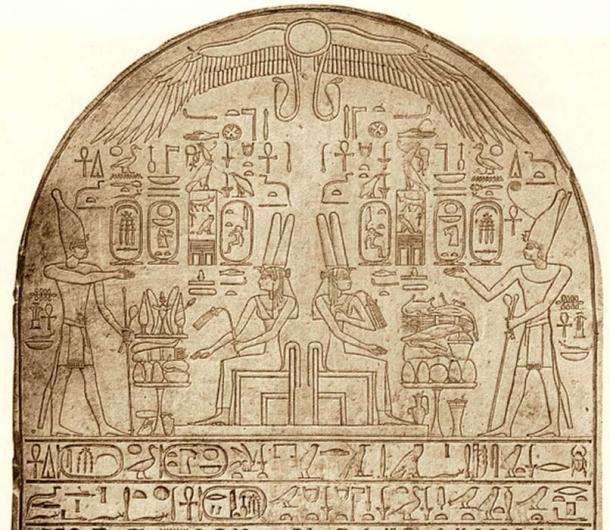 Stela depicting Tetisheri (seated) and pharaoh Ahmose.