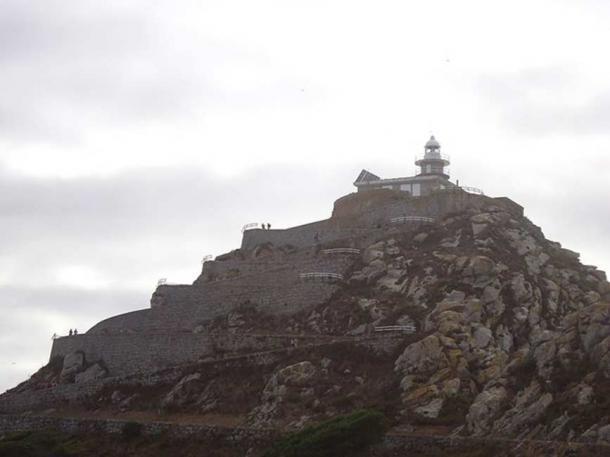 Steps and lighthouse on Montefaro Island.