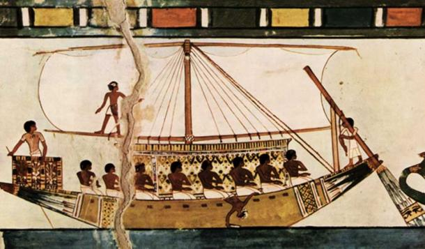 Stern-mounted steering oar of an Egyptian riverboat.