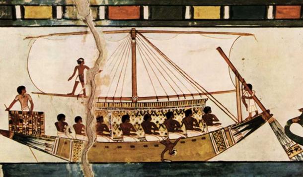 Stern-mounted steering oar of an Egyptian riverboat.