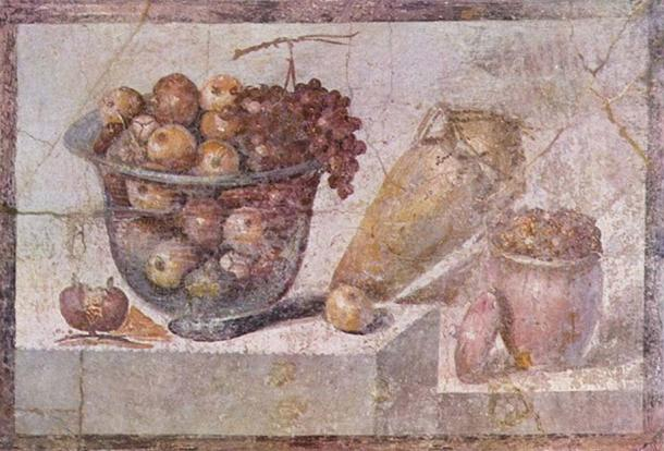 'Still life with glass bowl of fruit and vases' by a Pompeian painter in 70 AD, Museo Archeologico Nazionale, Naples, Italy.