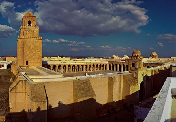 Stitched Panorama of the Great Mosque of Kairouan, in Tunisia. (MAREK SZAREJKO/CC BY SA 2.0) The Great Mosque at Beni Hammad Fort had a similar design.