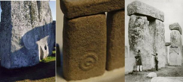 Stone 52 with 'The Eye' symbol. From Left: Stone 52 today (Credit: Lloyd Matthews), Replica of Stone 52