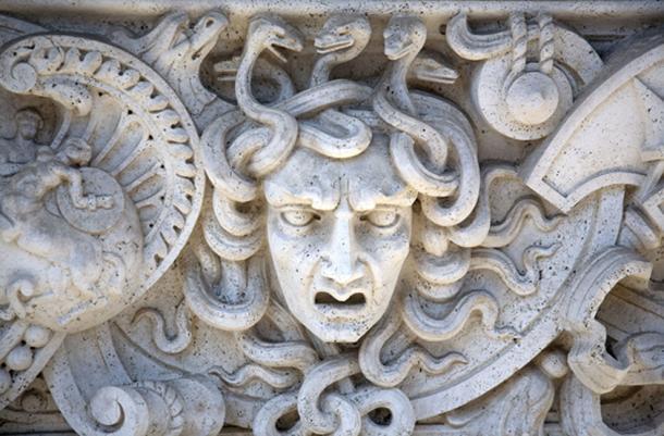 Stone Carved Panel of the Head of Medusa. (Shelli Jensen / Adobe)