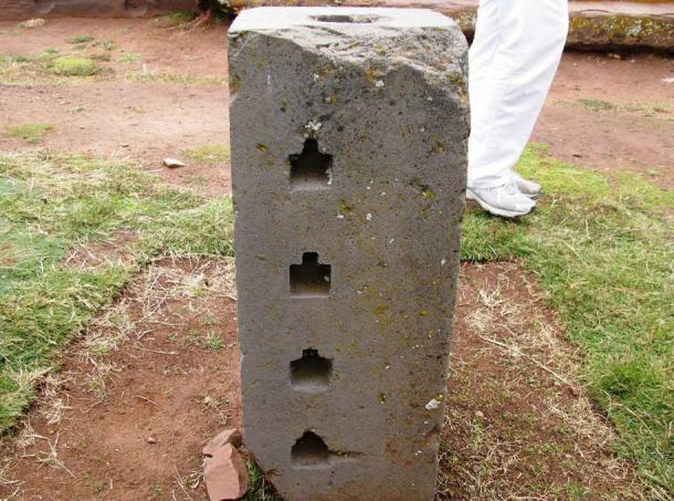 Stone block at Puma Punku with a set of blind holes of complex shape