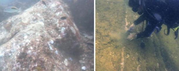Stone block with the joinery projections (left) and steps leading to the platform (right) found underwater at Mahabalipuram, India.