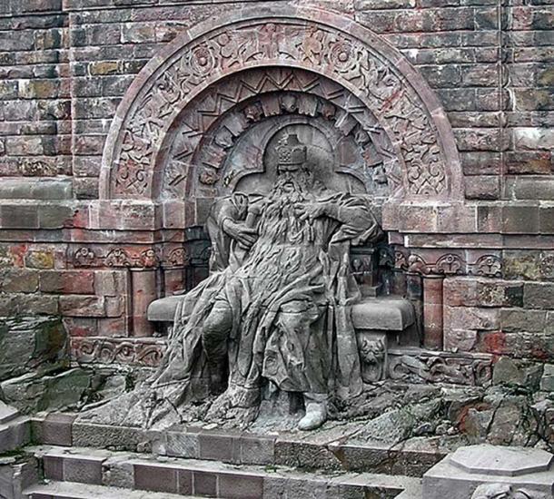 Stone depiction of Barbarossa, at Kyffhäuser Mountain.