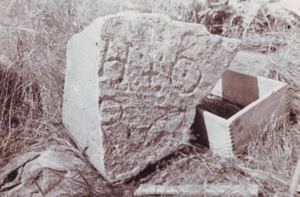 Stone found by Gilbert Hedden in 1936 at Joudrey's Cove