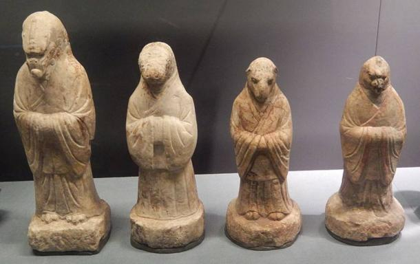 Stone funerary figurines of the Dragon, Snake, Goat and Rooster. Unearthed from the tomb of Xue Fujun at Yaojiajing in Xuanwu District, Beijing. Tang dynasty (618–907). Capital Museum, Beijing.