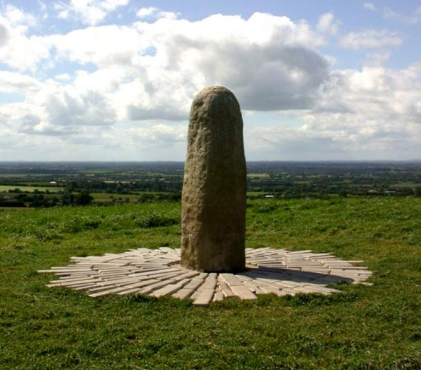The Lia Fáil (Stone of Destiny) atop the Hill of Tara, County Meath, Ireland.