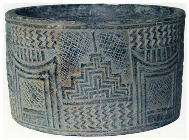 Stone vessel, Jiroft, architectural decoration. After Majidzadeh, 2003, p. 71, no. 71.