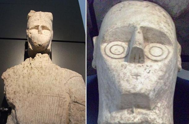 Stone warrior and detail of stone warrior's head, Mont'e Prama, Sardinia