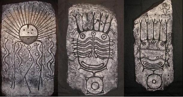 Stones with Okunev's culture petroglyph (first half of 2nd millennium BC) in the National museum of Republic of Khakassia.