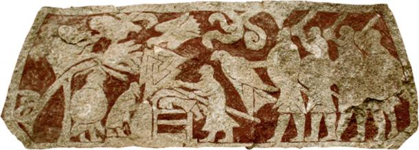 The Stora Hammars I stone, where the valknut occurs in the most central and predominant position, alongside images interpreted as Odin (with a characteristic spear) hunting another figure into a burial mound, while a raven is overhead and another man is hanged.