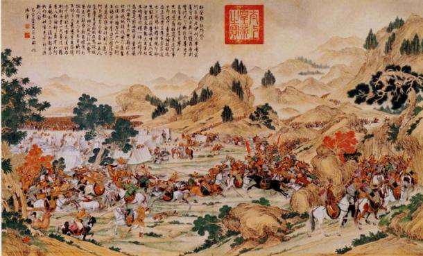 """Storming of the Camp at Gädän-Ola"" a scroll depicting a raid in 1755 in which the Kalmuk Ayusi, having gone to the Chinese side, attacks Dawa achi's camp on Mount Gadan."