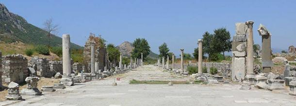 Street scene at the archaeological excavations at Ephesus, an ancient Greek city on the west coast of Anatolia, near present-day Selçuk, Izmir Province, Turkey.