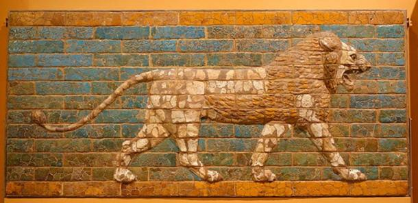 Striding Lion from Processional Way in Babylon, Neo-Babylonian Period, c. 604-562 BC, molded and glazed brick - Oriental Institute Museum, University of Chicago (Public Domain)