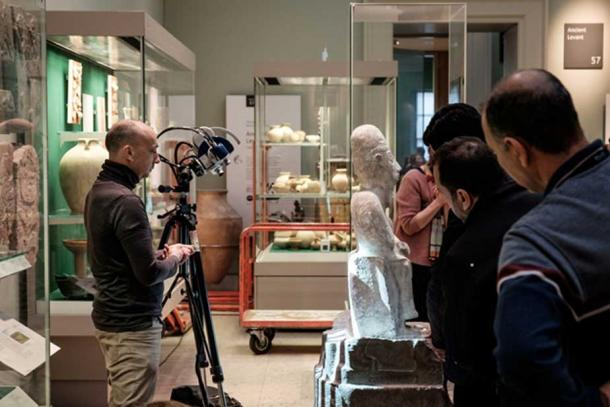 Structured light scanning of the Idrimi statue using the Breuckmann Smart Scan 3D.