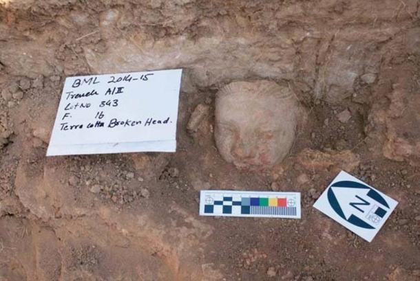 Stucco sculpture of a head, uncovered during excavations at Bhamala.