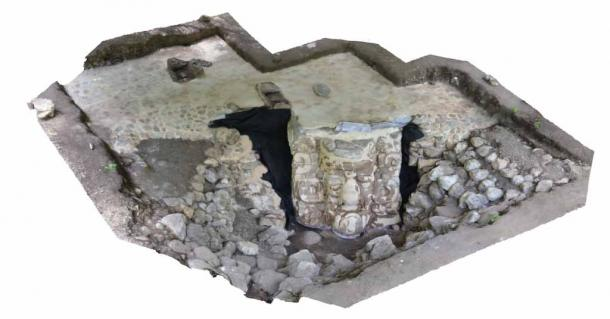 View of the giant stucco face, or Mayan mask, in situ. The face was discovered in the Yucatán Peninsula near the village of Ucanha. (INAH)