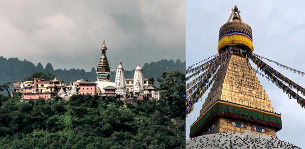 Swayambhunath Stupa and Boudhanath stupa, Kathmandu, Nepal.