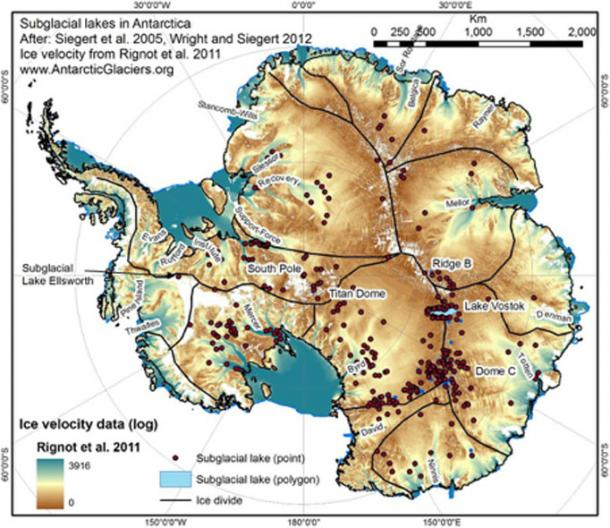 Subglacial lakes identified beneath the Antarctic continent.