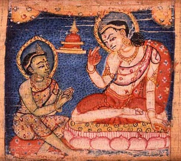 Sudhana learning from one of the fifty-two teachers along his journey toward enlightenment. Sanskrit manuscript, 11-12th century.