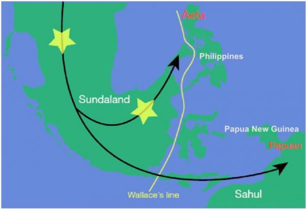 Suggested places of first contact between modern humans and Denisovans in the area of the former Sunda landmass according to Majumder and his colleagues. (Author provided)
