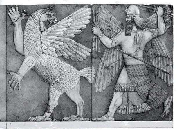 Sumerian Chaos Monster and Sun God