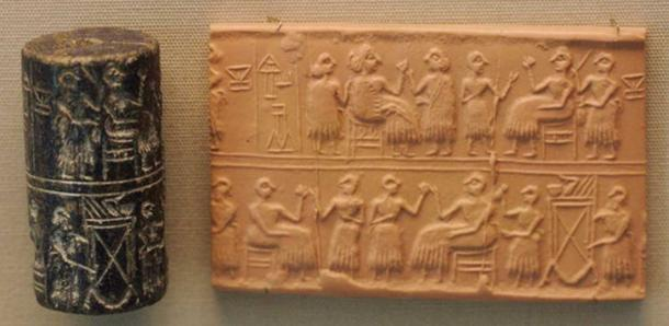 """Cylinder-seal of the """"Lady"""" or """"Queen"""" (Sumerian NIN) Puabi, c. 2600 BC. Banquet scene, typical of the Early Dynastic Period."""