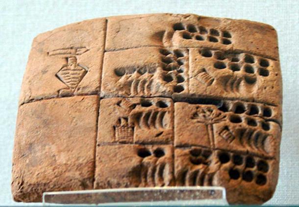 "Sumerian administrative tablet bearing the supposed name ""Kushim"" (3500 – 2000 BC)."