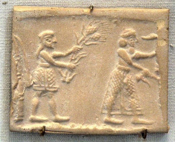 Sumerian cylinder seal impression dating to c. 3200 BC, showing an ensi (king-priest) and his acolyte feeding a sacred herd.