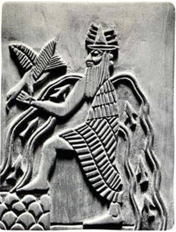 Image of the Sumerian god Enki, with characteristic symbols: bird, goat and water flows.