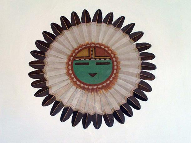 A mural depicting Tawa, the Sun Spirit and Creator in Hopi mythology.