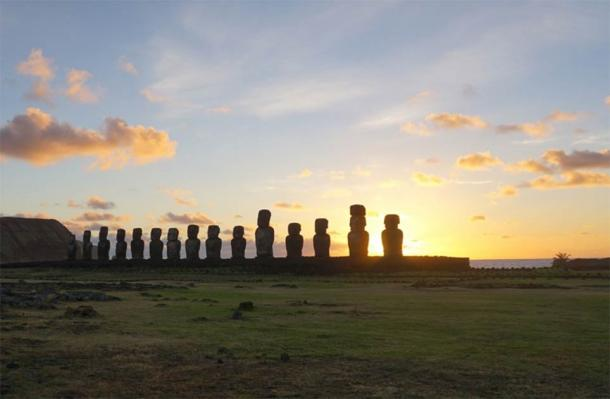 Sunrise at the Tongariki site on Easter Island. (Andres Moreno-Estrada / Nature)