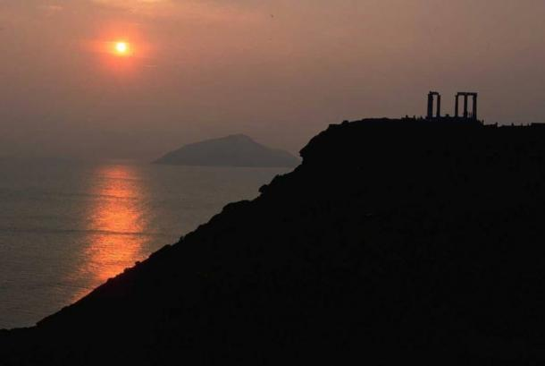 Sunset at Cape Sounion.